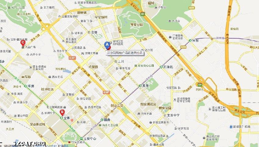 附:地图中a处即为宝安华南宠物医院的位置
