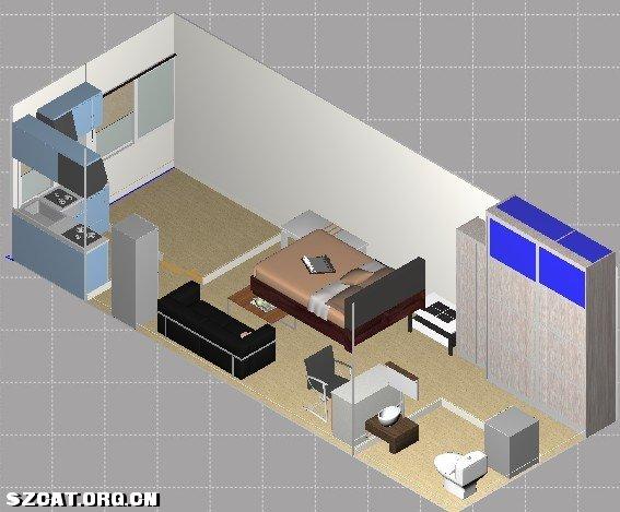 长方形结构房子立体图